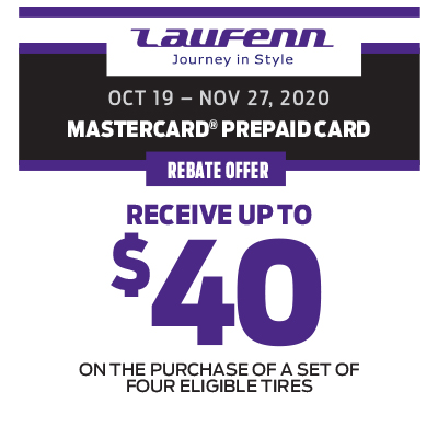RECEIVE UP TO $40 ON THE PURCHASE OF A SET OF FOUR ELIGIBLE TIRES!