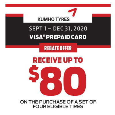 RECEIVE UP TO $80 ON THE PURCHASE OF A SET OF FOUR ELIGIBLE TIRES!